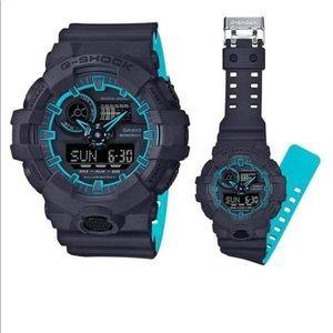 Black & Neon Blue Men's Casio G-SHOCK Watch